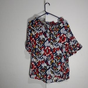 4/$25  Anthropologie Odille floral tops ruffle nec